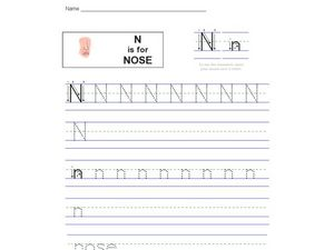 N is for Nose Worksheet