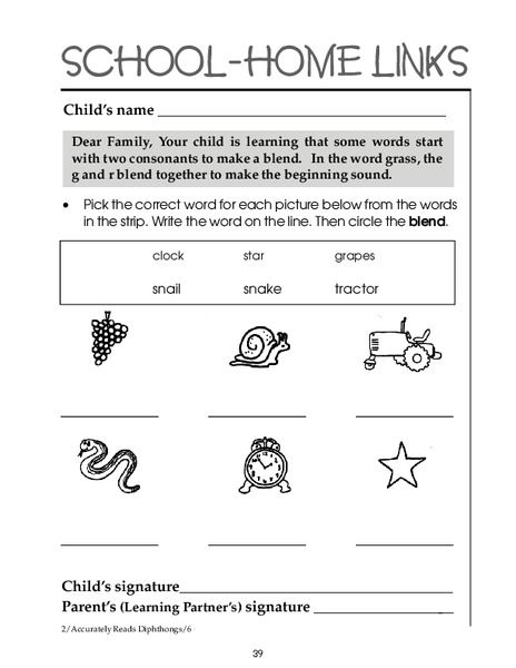 consonant blends worksheet for 1st