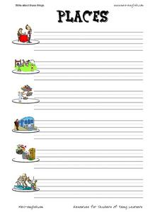 ESL Vocabulary and Writing: Places Worksheet