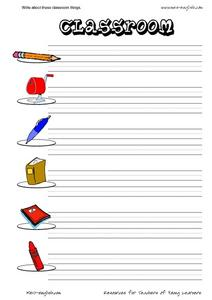 ESL Vocabulary and Writing: Classroom Worksheet