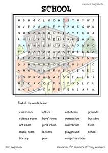 ESL Vocabulary Word Search: School Worksheet