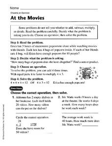 At The Movies: Choosing an Operation Worksheet