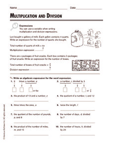 Multiplication and Division: Expressions Worksheet