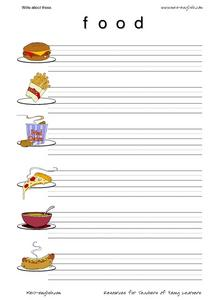 ESL Vocabulary and Writing: Food Worksheet