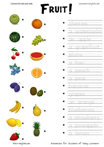 ESL Connect the Dots: Fruit Worksheet for 2nd - 3rd Grade ...