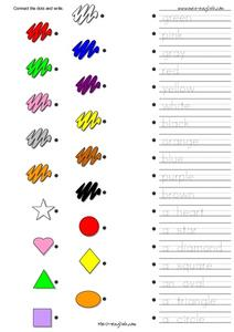 ESL Vocabulary Connect the Dots: Shapes and Colors Worksheet