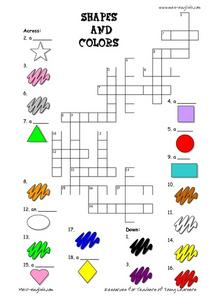 69ca95fc273 ESL Vocabulary Crossword  Shapes and Colors Worksheet for 2nd - 4th ...