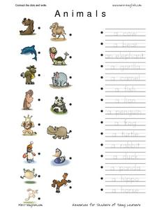 ESL Vocabulary Connect the Dots: Animals Worksheet