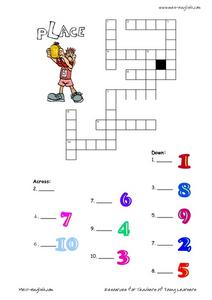 ESL Vocabulary Crossword: Place Worksheet