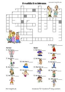 Health Problems Crossword Worksheet