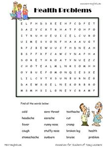 Health Problems Word Searches Worksheet For 1st 3rd Grade Lesson