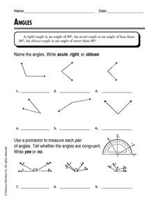 Angles - Identify What Type Worksheet