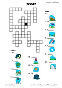 Nature Crossword Puzzle Worksheet