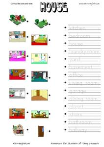 Connect the Dots and Write: House Worksheet