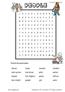 People Word Searches Worksheet