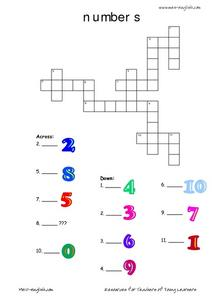 Numbers Crossword Puzzle Worksheet
