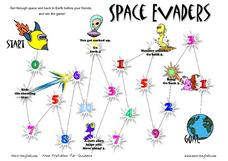 Space Evaders: Numbers Worksheet