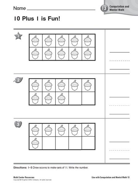 Plus One Worksheets Kindergarten