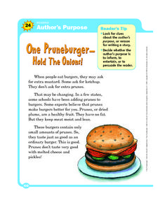 Author's Purpose: One Pruneburger, Hold the Onions! Worksheet