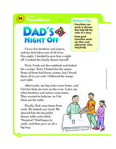 Transitions: Dad's Night Off Worksheet