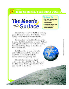 Topic Sentence/Supporting Details: The Moon's Surface Worksheet