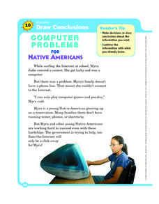 Computer Problems for Native Americans Worksheet