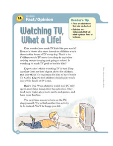 Watching TV What a Life! Worksheet
