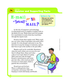 "E-Mail or ""Snail"" Mail? Worksheet"