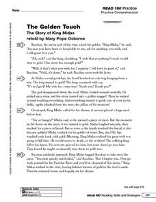 The Golden Touch Worksheet