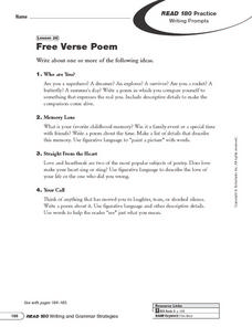 Free Verse Poem Worksheet