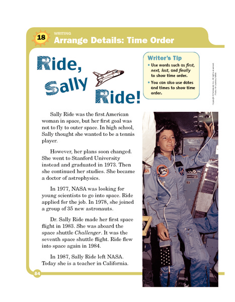 ride, sally ride 4th - 5th grade worksheet | lesson planet, Presentation templates