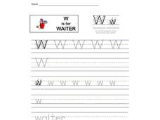 W is for Waiter Worksheet