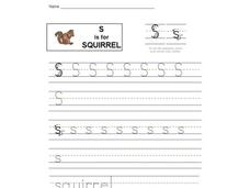 S is for Squirrel: Printing the Letter S Worksheet