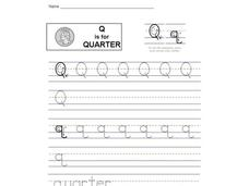 Q is for Quarter: Printing Practice Interactive