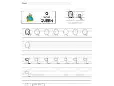 Q is for Queen: Printing Practice Interactive