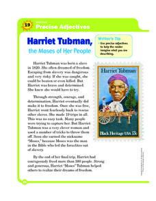 Harriet Tubman: Using Precise Adjectives Worksheet