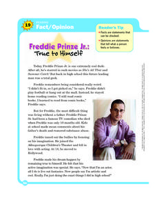 Freddie Prinze Jr.: True to Himself Worksheet
