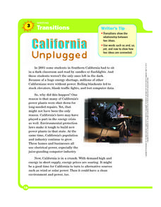 Writing Transitions: California Unplugged Worksheet