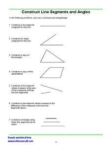 Construct Line Segments and Angles Worksheet