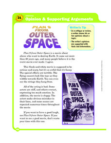 Writing: Opinion and Supporting Arguments Worksheet