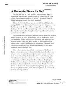 Reading Comprehension: A Mountain Blows Its Top Worksheet