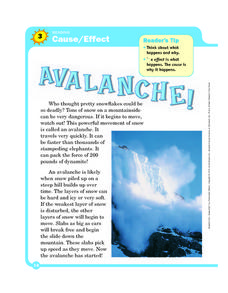 Avalanche! Cause and Effect Worksheet