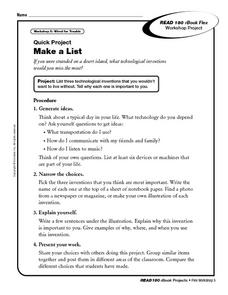 Quick Project: Make a List Worksheet