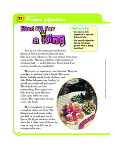 Writing Precise Adjectives: Food Fit for a King Graphic Organizer