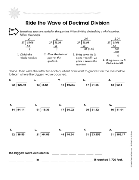 ride the wave of decimal division worksheet for 4th 5th grade lesson planet. Black Bedroom Furniture Sets. Home Design Ideas