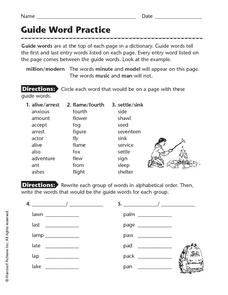 Guide Word Practice Worksheet for 2nd - 3rd Grade | Lesson ...