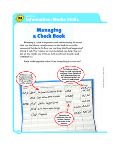 Information/Media Skills: Managing a Check Book Worksheet