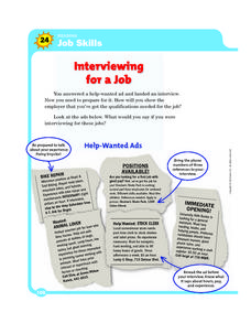Reading Job Skills: Interviewing for a Job Worksheet