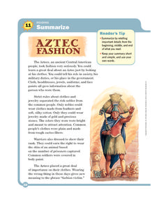 Aztec Fashion Worksheet