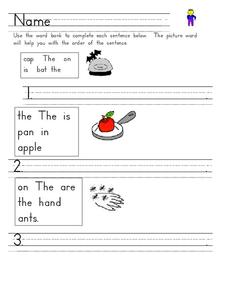 Constructing Sentences Worksheet